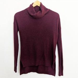 Madewell Fine Rib Maroon Turtleneck Sweater
